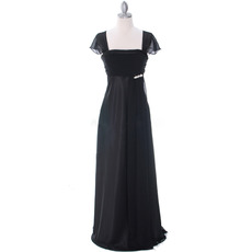 Custom Empire Square Neck Black Chiffon Formal Mother Dress with Cap Sleeves