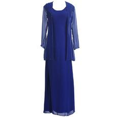 Discount Simple Sheath Tea Length Blue Chiffon Formal Mother Dress with Jackets