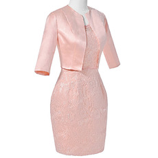 Modest Column Sleeveless Knee Length Two Piece Mother Dress/ Suits with Jackets