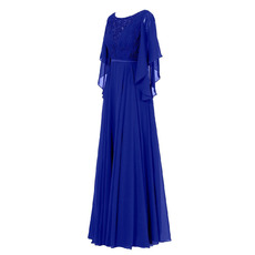 Custom Elegant Long Blue Chiffon Formal Mother Dress with Cap Sleeves