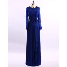 Modest Elegant Floor Length Chiffon Mother Dress with Long Lace Sleeves