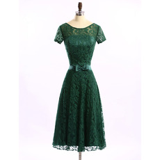 Custom Designer A-Line Tea Length Lace Mother Dress with Short Sleeves