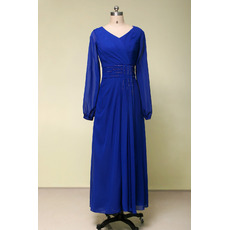 Vintage V-Neck Tea Length Blue Chiffon Formal Mother Dress with Long Sleeves