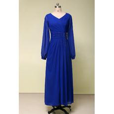 Vintage V-Neck Tea Length Blue Chiffon Formal Mother Dress with Long Sleeves