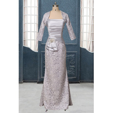 Custom Inexpensive Elegant Sheath Straps Long Two Piece Mother Dress with Lace Jackets