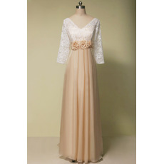 Custom Empire Waist V-Neck Long Chiffon Mother Dress with 3/4 Long Lace Sleeves