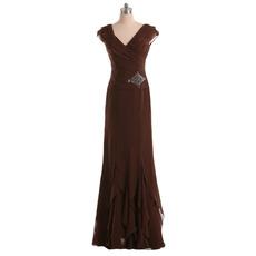 2018 Vintage Sheath V-Neck Long Chiffon Formal Mother of the Bride Dress