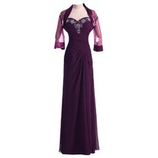 Modern Sheath Sweetheart Long Chiffon Formal Mother of the Bride Dress with Jackets