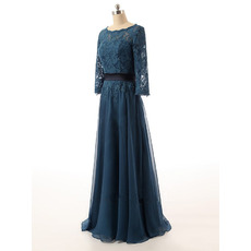 2018 Top Elegant Long Chiffon Mother of the Bride Dress with 3/4 Long Lace Sleeves