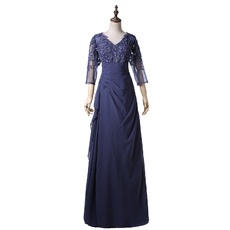 Custom Modern V-Neck Long Mother of the Bride Dress with 3/4 Long Sleeves