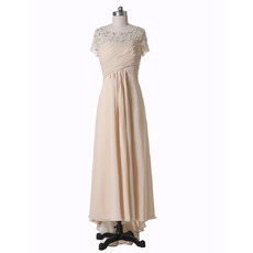 Inexpensive Custom High-Low Chiffon Beaded Mother of the Bride Dress with Short Sleeves