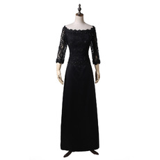 Elegant Off-the-shoulder Black Chiffon Formal Mother Wedding Dress with 3/4 Long Sleeves