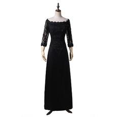 Elegant Off-the-shoulder Black Chiffon Formal Mother Wedding Dress with 3/4 Long Sleeves