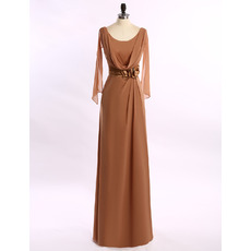 Elegant Floor Length Chiffon Cowl Mother of the Bride Dress with Cap Sleeves