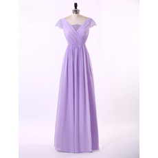 Inexpensive A-Line V-Neck Chiffon Formal Mother Wedding Dress with Short Sleeves