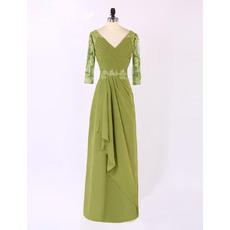 Discount Custom V-Neck Long Chiffon Mother Wedding Dress with 3/4 Long Sleeves