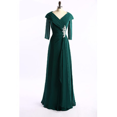 Inexpensive Modest Lapel Long Chiffon Mother Dress with 3/4 Long Sleeves