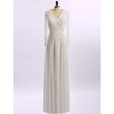 Custom Modest V-Neck Long White Chiffon Mother of the Bride Dress with Long Sleeves