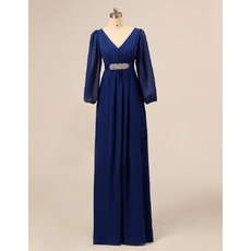 Designer Empire V-Neck Blue Chiffon Formal Mother of the Bride Dress with Long Sleeves