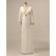 Inexpensive Elegant Empire V-Neck Long Chiffon Mother Dress with Long Sleeves