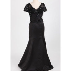 Custom Designer Trumpet V-Neck Long Black Mother Dress with Short Sleeves