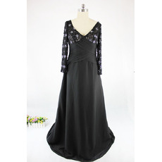 Inexpensive A-Line V-Neck Long Satin Black Plus Size Mother Dress with Long Sleeves