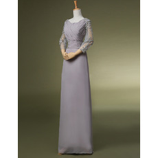 Modest Sheath Long Formal Mother of the Bride Dress with 3/4 Long Sleeves