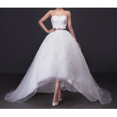 Modern Chic A-Line Strapless High-Low Satin Tulle Net Wedding Dress