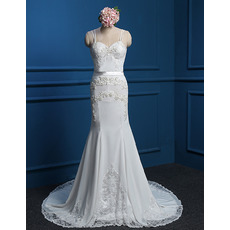 Cheap Custom Trumpet Spaghetti Straps Court Train Chiffon Wedding Dress
