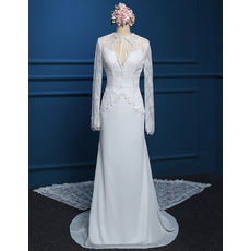 Cheap Modern Chiffon Wedding Dress with Long Lace Sleeves and Train