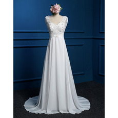 Classic Elegant A-Line Round Empire Sweep Train Chiffon Wedding Dress