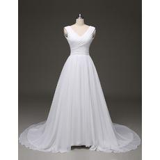2018 Ball Gown V-Neck Court Train Chiffon Pleated Plus Size Wedding Dress
