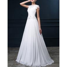 Romantic A-Line Bateau Sweep Train Chiffon Applique Wedding Dress