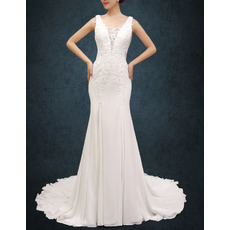 Modern Sexy Sheath Straps Court Train Chiffon Wedding Dress