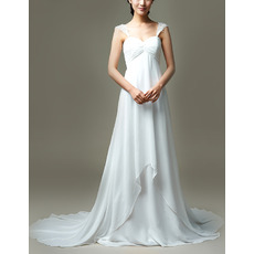 Custom Stylish Empire Waist Straps Sweetheart Court Train Chiffon Wedding Dress