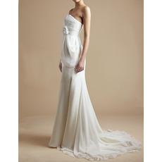 Simple Modern Sheath Strapless Sweep Train Chiffon Wedding Dress