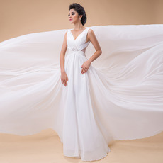 Inexpensive Romantic A-Line V-Neck Chapel Train Chiffon Beach Wedding Dress