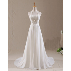 Custom Classy A-Line Halter Court Train Chiffon Pleated Wedding Dress