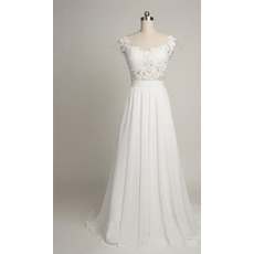Sexy Chic Round/ Scoop Sweep Train Chiffon Applique Wedding Dress