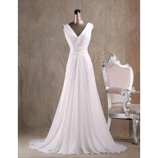Timeless Modest A-Line V-Neck Court Train Chiffon Fringe Wedding Dress