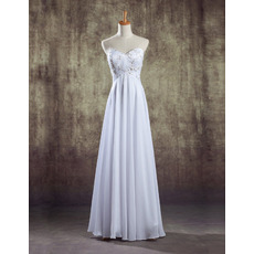 Inexpensive Custom Sweetheart Empire Floor Length Chiffon Petite Wedding Dress