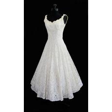 2018 Simple A-Line Scoop Lace Short Reception Bridal Wedding Dress