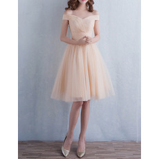 Modern Romantic Off-the-shoulder Short Tulle Lace-Up Bridesmaid Dress