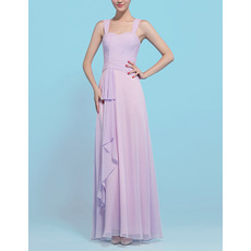 Affordable Designer Sheath Long Chiffon Bridesmaid Dress with Straps