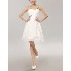 Women's Sexy One Shoulder Sweetheart Short White Chiffon Bridesmaid Dress