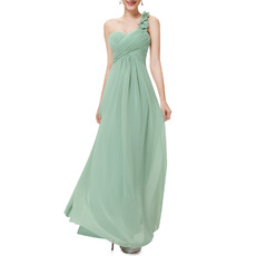 2018 Fashionable One Shoulder Sweetheart Long Green Chiffon Bridesmaid Dress for Wedding