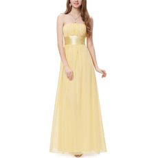 Simple Elegant Strapless Long Chiffon Pleated Bridesmaid Dress with Sashes