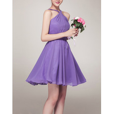 Women's Sexy A-Line Halter Sleeveless Mini/ Short Chiffon Bridesmaid Dress