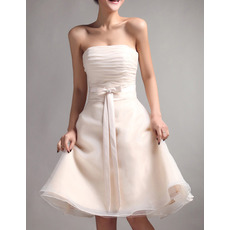 Custom Designer A-Line Strapless Mini Organza Lace-Up Bridesmaid Dress