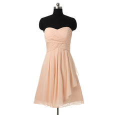 Women's Affordable Best Elegant A-Line Sweetheart Short Chiffon Bridesmaid Dress
